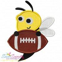 Football Yellow Jacket Mascot Applique Design