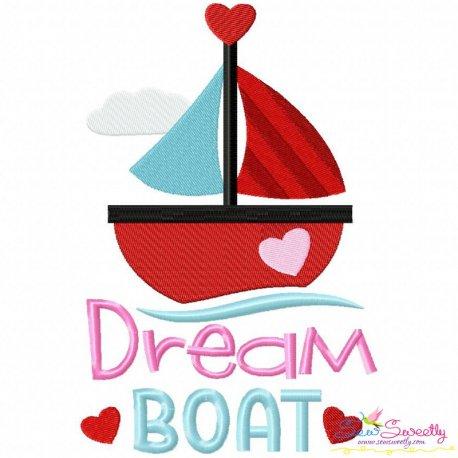 Valentine Dream Boat Embroidery Design Pattern- Category- Valentine's Day Designs- 1