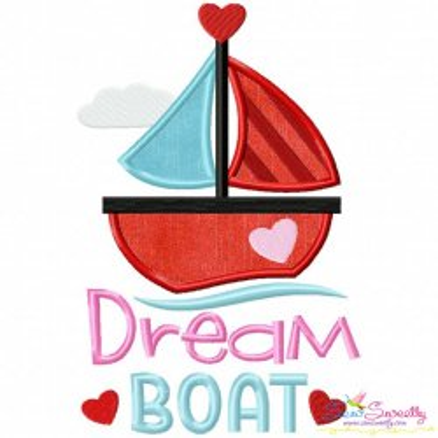 Valentine Dream Boat Applique Design