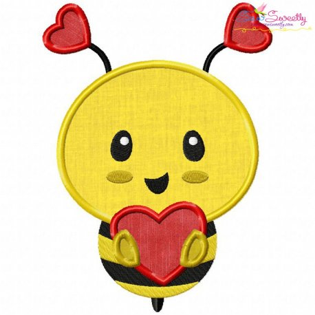 Bee Heart Applique Design