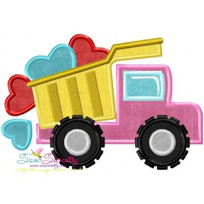 Dump Truck Hearts Applique Design