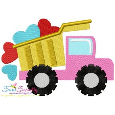 Dump Truck Hearts Embroidery Design