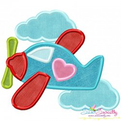 Valentine Airplane Embroidery Design