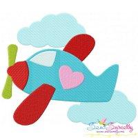 Valentine Airplane Embroidery Design