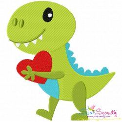 Dinosaur Heart Embroidery Design