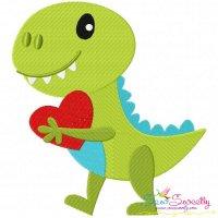 Dinosaur Heart Embroidery Design