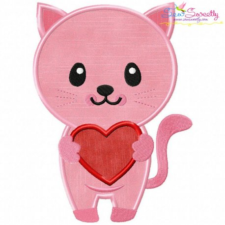 Pink Kitty Heart Applique Design