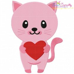 Pink Kitty Heart Embroidery Design