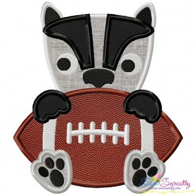 Football Badger Mascot Applique Design