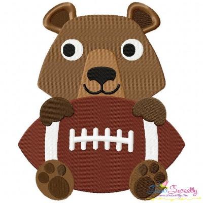 Football Bear Mascot Embroidery Design