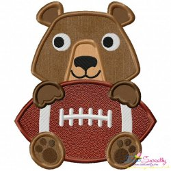 Football Bear Mascot Applique Design