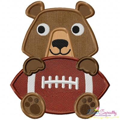 Football Bear Mascot Applique Design