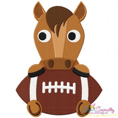 Football Bronco Mascot Embroidery Design