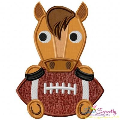 Football Bronco Mascot Applique Design