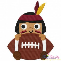 Football Indian Mascot Embroidery Design