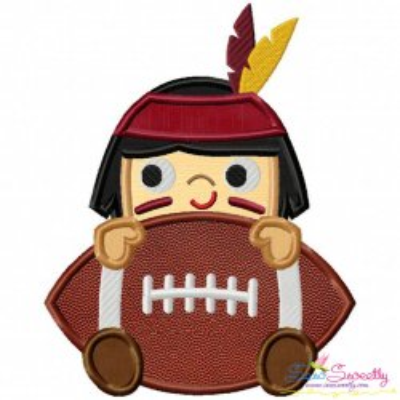 Football Indian Mascot Applique Design