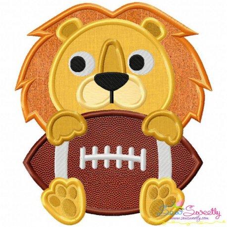 Football Lion Mascot Applique Design
