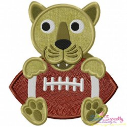Football Panther Mascot Applique Design
