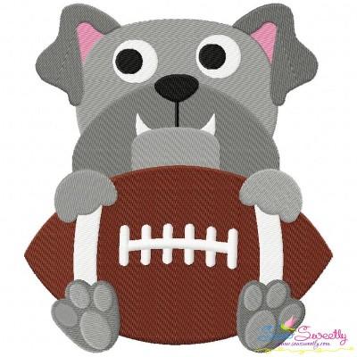Football Bulldog Mascot Embroidery Design