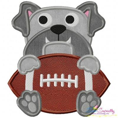 Football Bulldog Mascot Applique Design