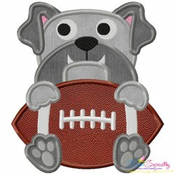 Football Bulldog Mascot Applique Design