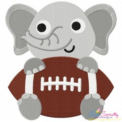 Football Elephant Mascot Embroidery Design