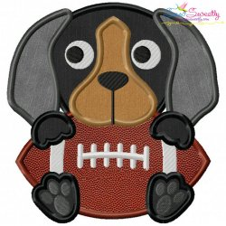 Football Hound Dog Mascot Applique Design