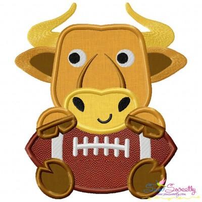 Football Longhorn Mascot Applique Design
