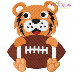 Football Tiger Mascot Embroidery Design