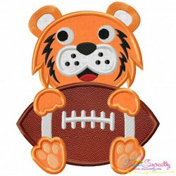 Football Tiger Mascot Applique Design