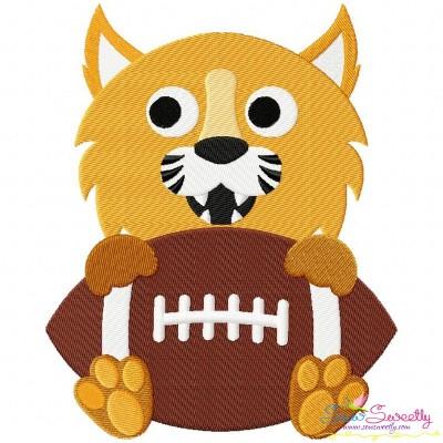 Football Wildcat Mascot Embroidery Design