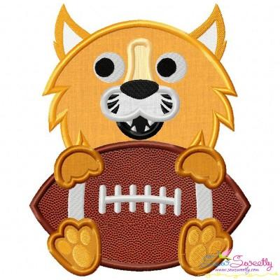 Football Wildcat Mascot Applique Design