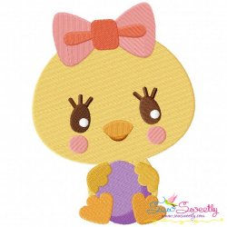 Chick Holding Egg Embroidery Design For Easter