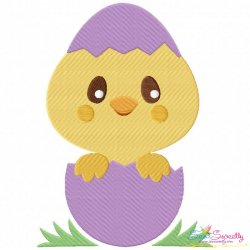 Chick Peeking Egg Embroidery Design