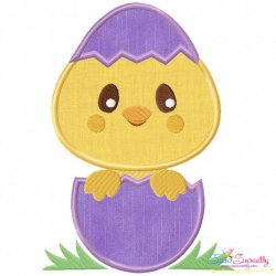 Chick Peeking Egg Applique Design
