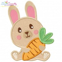 Easter Bunny With Carrot-2 Applique Design