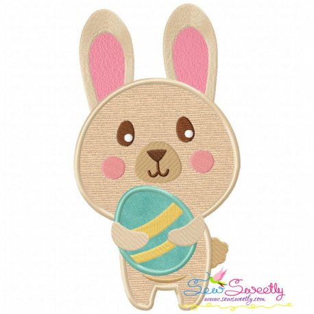 Easter Bunny With Egg-3 Applique Design