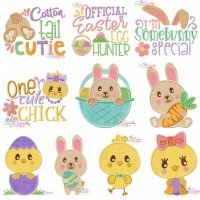 Easter Bunnies And Chicks Embroidery Design Bundle