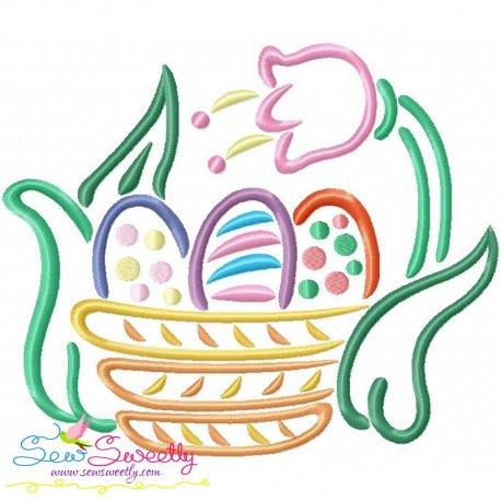 Outlines Easter Egg Basket Tulip Embroidery Design