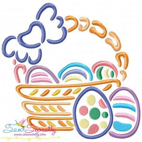 Outlines Easter Egg Basket-2 Embroidery Design