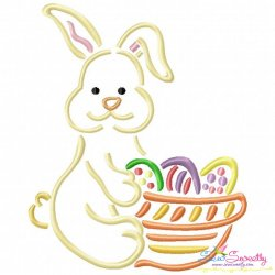 Outlines Bunny Egg Basket Embroidery Design