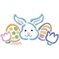 Outlines Bunny Eggs Tulips Embroidery Design