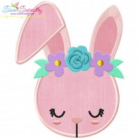 Bunny With Flowers Applique Design