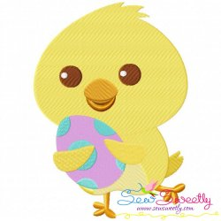 Running Chick With Egg Embroidery Design