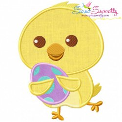 Running Chick With Egg Applique Design