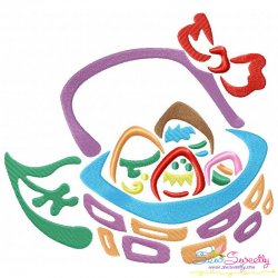 Outlines Floral Easter Egg Basket-02 Embroidery Design