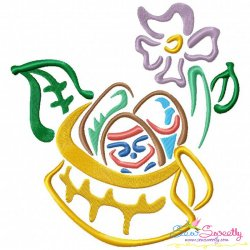 Outlines Floral Easter Egg Basket-01 Embroidery Design