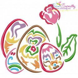 Outlines Floral Easter Eggs-02 Embroidery Design
