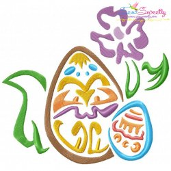 Outlines Floral Easter Egg-01 Embroidery Design