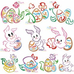 Easter Outlines Designs Embroidery Design Bundle-1